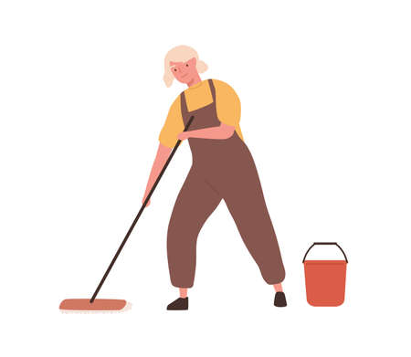 Cheerful elderly woman with mop and bucket, in office cleaning service, janitor uniform washing floor. Professional housework. Flat vector cartoon illustration isolated on white background  イラスト・ベクター素材