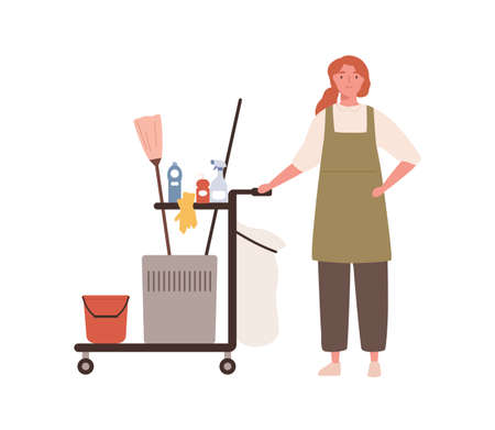 Room maid, janitor woman in cleaning office service uniform. Maid woman standing by cart, cleaning equipment, tool. Housekeeping staff. Flat vector cartoon illustration isolated on white background