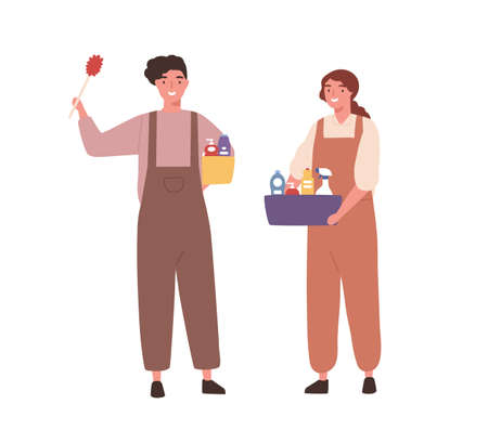 Cheerful people, cleaning service staff in janitor uniform with housekeeping box tool. Man, woman housemaid worker, cleaning company. Flat vector cartoon illustration isolated on white background
