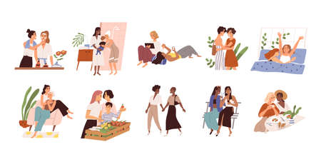 Set of diverse homosexual multiracial lesbian couples. International gay family bundle with children. Female parents, different ages. Flat vector cartoon illustration isolated on white background Vettoriali