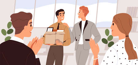 People welcome new team member in the office. Colleague introduction and acquaintance. First day at work concept. Friendly coworkers applauding, meeting employee. Flat vector cartoon illustration Vettoriali