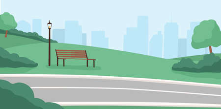 Morning city park, empty public place, high rise buildings. Cityscape with trees, bushes, lanterns, bicycle path, benches. Morning serenity, daytime park. Flat vector illustration in cartoon style