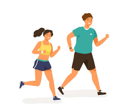 Cute jogging couple dressed in sportswear. Happy man and woman running outdoor together. Sport activity, healthy lifestyle. Warm up before training. Flat vector cartoon illustration isolated on white