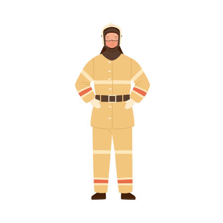 Firefighter, fireman, rescuer man in fireproof protective suit, clothes, uniform and helmet. Emergency services worker, profession. Flat vector cartoon illustration isolated on white background