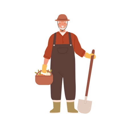 Elderly agrarian, old farmer in work dungarees standing with shovel, vegetable basket. Retired man, seasonal harvest. Farming, gardening. Flat vector cartoon illustration isolated on white background