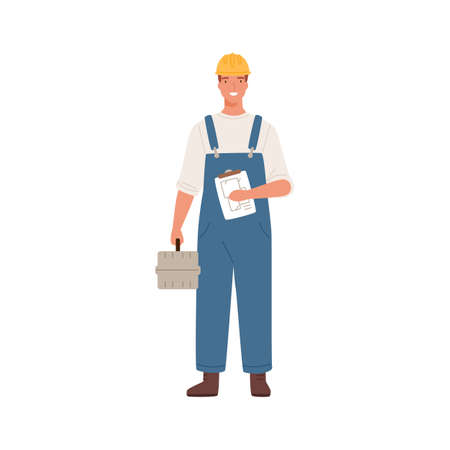 Builder man or engineer standing with toolkit in professional uniform, helmet and dungarees. Repair service, laborer or constructor work. Flat vector cartoon illustration isolated on white background  イラスト・ベクター素材
