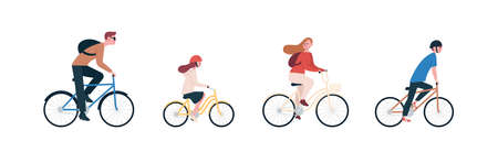 Happy family riding bike, bicycle. Joyful mother, father, daughter, son. Parents and kids cycling, spend time together. Outdoor sport activity. Flat vector cartoon illustration isolated on white
