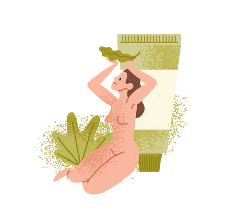 Naked woman sits near giant lotion tube pack. Tropical palm leaves, natural skin care cream, balsam, gel. Eco friendly vegan organic cosmetics. Flat vector cartoon illustration isolated on white