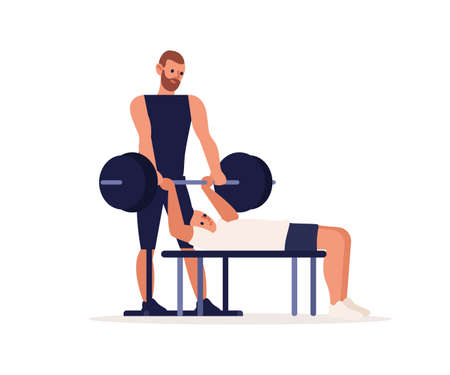 Personal sport trainer, coach man. Training sportsman, bodybuilding, physical exercise, chest press. Man lifting, pulling barbell, muscle pumping. Flat vector cartoon illustration isolated on white