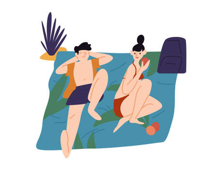 Relaxing people, sunbathing couple on beach. Young woman, man eating, chilling, sleeping. Summer vacation, relax, lounge at picnic. Flat vector cartoon illustration isolated on white background  イラスト・ベクター素材