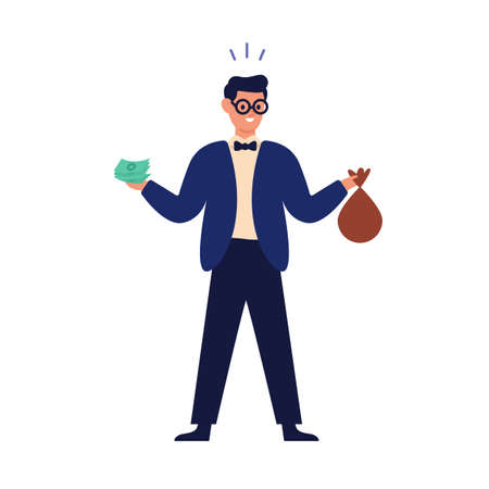 Wealthy happy man holding banknote, money bag and financial accumulation, income profit. Save cash, savings concept. Successful investment. Flat vector cartoon illustration isolated on white