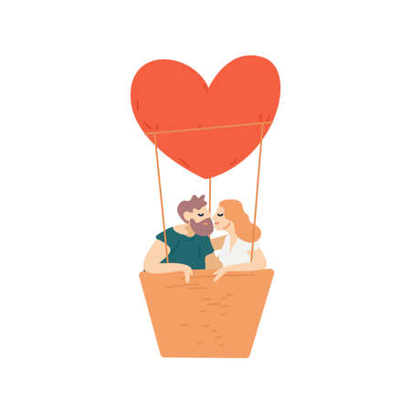People, couple flying, heart-shaped hot air balloon. Man and woman cuddling, kiss, hug. Romantic date, relationship concept. Scene of love idyl. Flat vector cartoon illustration isolated on white