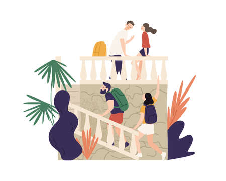 Friends, couples travel, spend time together, excursion, sightseeing. Vacation tourism. Tourist people at summer holiday. Ancient attractions. Flat vector cartoon illustration isolated on white