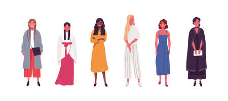 Collection of diverse multicultural woman in trendy clothes, dress. Fashion multiracial girls in different casual outfit. Flat vector cartoon illustration isolated on white background