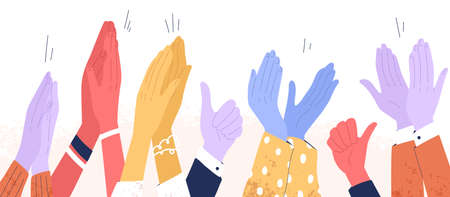 Colorful clapping hands or diverse applauding people. Public multinational audience demonstrate greeting and cheering. Happy ovation and thumbs up. Flat vector cartoon illustration isolated on white