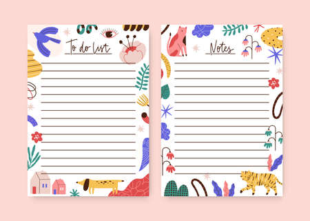 Set of childish notebook, organizer, planner memo page design template. To do list, agenda decorated of cute animals, plants, trendy curve shapes. Flat vector cartoon illustration on white background