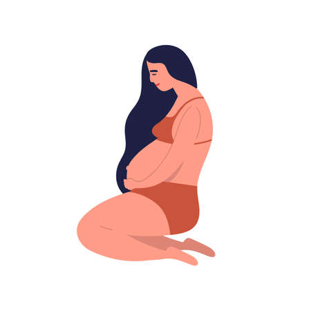 Pregnant young brunette woman awaiting baby birth. Mother sitting in underwear with long black hair holding belly. Happy pregnancy period. Flat vector cartoon illustration isolated on white background