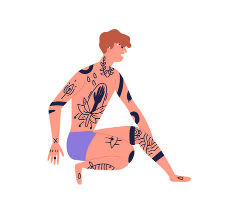 Young naked man with piercing sitting in underwear, beachwear with african black ink trendy tattoo. Body adornment, informal street style. Flat vector cartoon illustration isolated on white background Ilustração