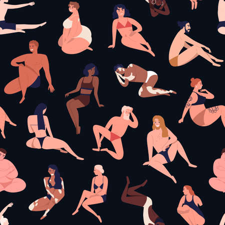 Seamless pattern of multiracial body positive people in beachwear. Woman and man of diverse size, age, shape, skin color and nationality. Flat cartoon vector illustration isolated on black background