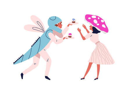 Funny couple in festive halloween mushroom and dragonfly costume. People in masquerade clothes with cupcakes in holiday. Flat vector cartoon illustration isolated on white background
