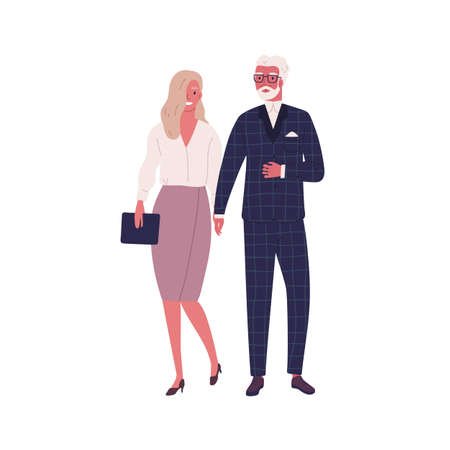 Modern elderly couple holding hands and walking together. Stylish woman and man in love, wearing trendy formal dress and costume. Flat vector cartoon illustration isolated on white background