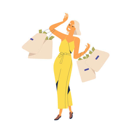 Fashion woman millionaire carrying bags full of currency vector flat illustration. Smiling rich girl with much money enjoying wealth isolated on white. Financial successful female walking with cash