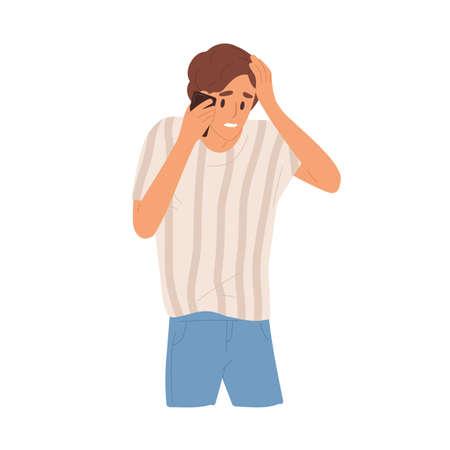 Sad guy holding head having bad news talking use smartphone vector flat illustration. Unhappy man with sorrowful face expression communicating on mobile phone isolated on white. Something went wrong Vektorové ilustrace