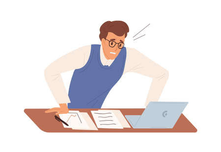 Business male feeling stress having problem at work vector flat illustration. Man office worker worried looking at screen of laptop isolated. Something went wrong. Nervous guy at workplace Vektorové ilustrace