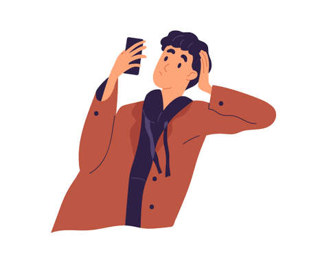 Relaxed guy looking at screen of smartphone vector flat illustration. Pensive male leaning on hand chatting use mobile phone isolated. Stylish man surfing internet or reading interesting information Vettoriali