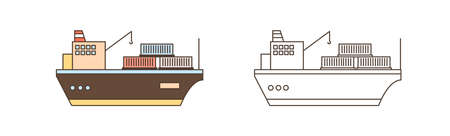 Colorful and monochrome icon set of cargo ships with crane and containers in line art style. Sea watercrafts carrying and loading goods vector illustration. Freight vessels with winches isolated