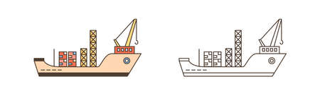 Color and monochrome cargo ships with containers and crane vector illustration in line art style. Set of freight vessels or transportation isolated. Shipment and loading international service Ilustração