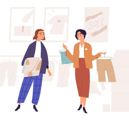 Sales consultant demonstrate clothes on hanger to woman customer who choose clothing in shopping mall or store. Professional stylist service in modern boutique. Flat vector cartoon illustration