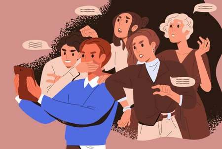 Bullying crowd of people who meddle, disturb and give unasked, unbidden advice. Woman shoves man with tablet. Concept of public meddlesome comment in media networks. Flat vector cartoon illustration Vecteurs
