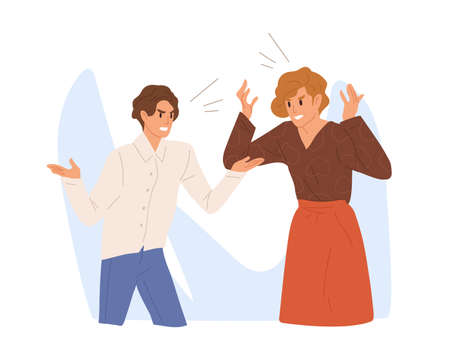 Aggressive people scream loud. Angry colleague or family couple quarrel. Irritated wife and husband conflict, scene of argue, relationship problems. Flat vector cartoon illustration. Archivio Fotografico - 154006614