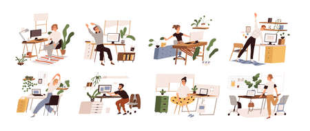 Set of different people practicing workout at workplace vector flat illustration. Collection of various employees doing warm up at office isolated. Man and woman stretch enjoying break