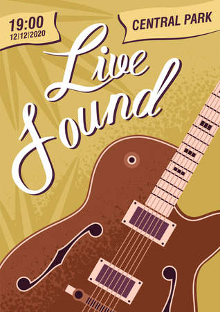 Colorful music live sound festival poster template vector flat illustration. Advertising of musical concert or event with guitar and design elements. Acoustic entertainment party promo flyer