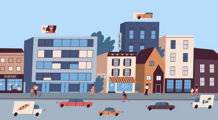 Daily big city life with buildings, citizens, traffic cars vector flat illustration. Architecture or cityscape of megapolis street. Panorama of bustle modern town. Lifestyle of people at metropolis