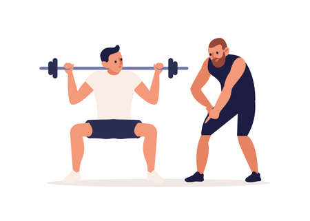 Coach training male client making squat with barbell vector flat illustration. Athletic personal trainer and man performing physical exercise at gym isolated on white. Muscle pumping or bodybuilding