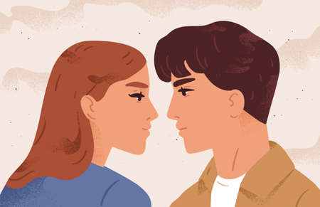Portrait of couple looking to each other having fondness flat illustration. Face profile of enamored man and woman before kiss. Romantic scene of pair. Concept of feeling, love and tenderness