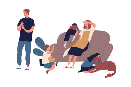 Tired mother having many children sitting on couch after tough day flat illustration. Indifference husband surfing internet use smartphone isolated. Problem in relationship of family