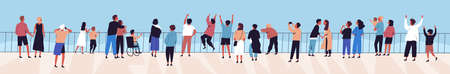 Crowd of relaxed people contemplating sea or ocean from waterfront flat illustration. Happy man, woman, children, couple and family spending time outdoor admiring sky and natural seascape Vecteurs