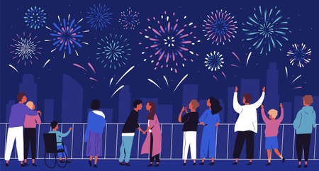 Crowd of people admiring celebratory fireworks at night cityscape flat illustration. Citizens of megapolis contemplating festive pyrotechnics show. Man, woman and children at urban holiday Illustration