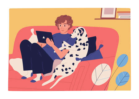 Focused guy and dog sit on couch use tablet flat illustration. Male owner and domestic animal watching entertainment video or surfing internet isolated. Man and pet spending time together