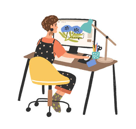 Woman freelance graphic designer working use computer flat illustration. Creative young female depict image in digital program isolated on white. Cute girl design creator at workplace