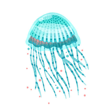 Bright blue textured jellyfish with tentacles and design elements flat illustration. Colorful natural aquatic inhabitant isolated on white background. Beautiful tropical underwater dweller