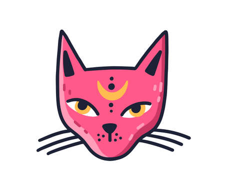 Doodle muzzle of magic pink cat with moon on forehead vector flat illustration. Avatar of mystic feline character with big yellow eyes isolated. Portrait of clairvoyant animal or enchanted pet