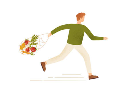 Male running carry string or turtle bag full of products vector flat illustration. Buyer man hurry or hustle holding grocery purchases isolated. Crazy shopaholic guy enjoy discount or black friday