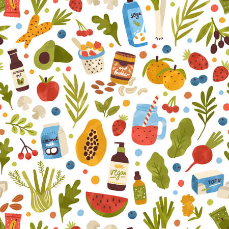 Colorful hand drawn vegan food, drink and herbs seamless pattern. Vegetables, fruits, berries, cosmetics and beverage vector flat illustration. Bio nutrition and care products for eco lifestyle