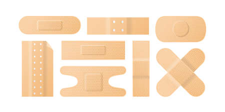 Set of realistic perforated plaster patch or tape vector illustration. Collection of first aid elements or sterile medical skin protector isolated on white. Adhesive dressings for wounds and injuries Illustration