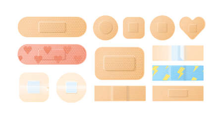 Collection of sterile medical protector elements vector illustration. Bundle of perforated and adhesive sides realistic patch and plaster isolated. Flesh colored, bright, childish and girlish tape